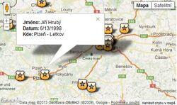 Mapa padlých policistů projektu NEZAPOMENEME!