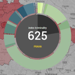 Vizualizace indexu kriminality na mapě kriminality